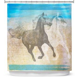 Premium Shower Curtains | Corina Bakke - Horse | animal surreal pop art