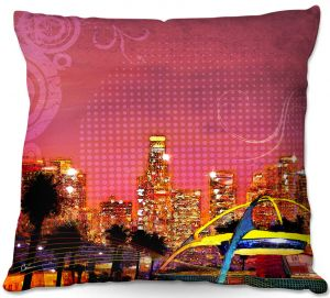 Decorative Outdoor Patio Pillow Cushion | Corina Bakke - Los Angeles Skyline