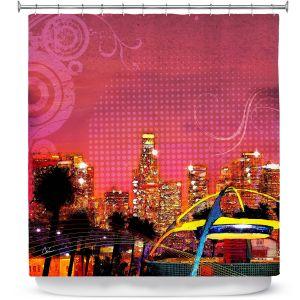Premium Shower Curtains | Corina Bakke - Los Angeles Skyline