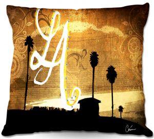Decorative Outdoor Patio Pillow Cushion | Corina Bakke - Los Angeles Beach