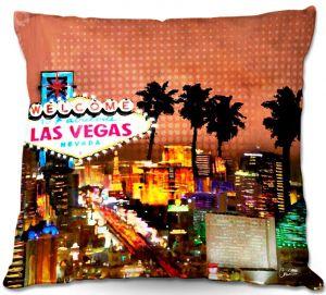 Decorative Outdoor Patio Pillow Cushion   Corina Bakke - Las Vegas Skyline