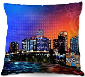 Throw Pillows Decorative Artistic | Corina Bakke's Miami Beach Skyline