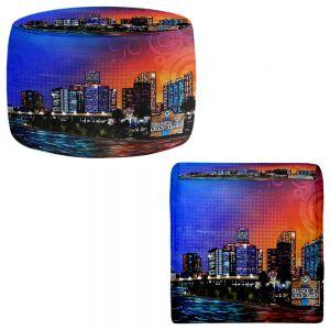 Round and Square Ottoman Foot Stools | Corina Bakke - Miami Beach Skyline
