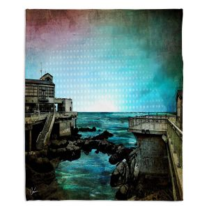 Decorative Fleece Throw Blankets | Corina Bakke - Monterey Bay | landscape digital coast water
