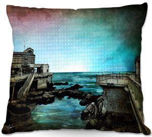 Decorative Outdoor Patio Pillow Cushion | Corina Bakke - Monterey Bay | landscape digital coast water