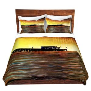 Artistic Duvet Covers and Shams Bedding | Corina Bakke - Newport Beach | landscape digital pier water