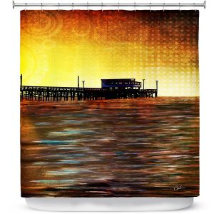 Premium Shower Curtains | Corina Bakke - Newport Beach | landscape digital pier water