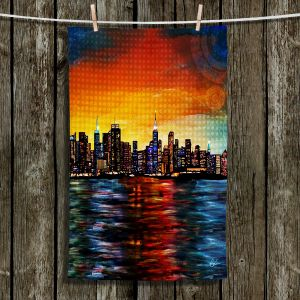 Unique Hanging Tea Towels | Corina Bakke - New York Skyline | Water Front Skyscrapers NYC