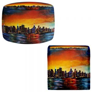 Round and Square Ottoman Foot Stools | Corina Bakke - New York Skyline