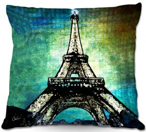 Decorative Outdoor Patio Pillow Cushion | Corina Bakke - Paris Eiffel Tower Night