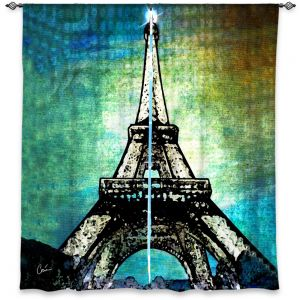 Unique Window Curtain Lined 40w x 61h from DiaNoche Designs by Corina Bakke - Paris Eiffel Tower Night