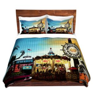 Artistic Duvet Covers and Shams Bedding | Corina Bakke - San Francisco 1 | landscape pier city