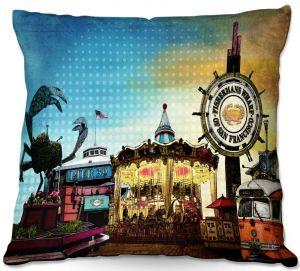 Decorative Outdoor Patio Pillow Cushion | Corina Bakke - San Francisco 1 | landscape pier city
