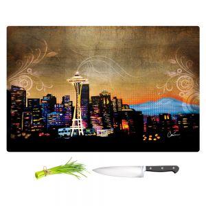 Artistic Kitchen Bar Cutting Boards | Corina Bakke - Seattle Skyline