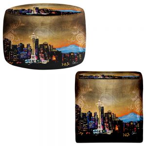 Round and Square Ottoman Foot Stools | Corina Bakke - Seattle Skyline