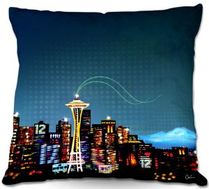 Decorative Outdoor Patio Pillow Cushion   Corina Bakke - Seattle Skyline Sports 12th Man