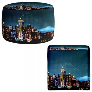 Round and Square Ottoman Foot Stools | Corina Bakke - Seattle Skyline Sports 12th Man