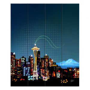 Decorative Wood Plank Art 16x20 from DiaNoche Designs by Corina Bakke - Seattle Skyline Sports