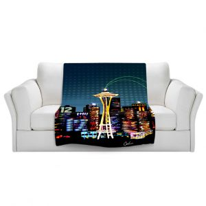 Artistic Sherpa Pile Blankets | Corina Bakke Seattle Skyline Sports