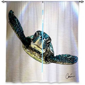 Unique Window Curtain Lined 40w x 61h from DiaNoche Designs by Corina Bakke - Sea Turtle I