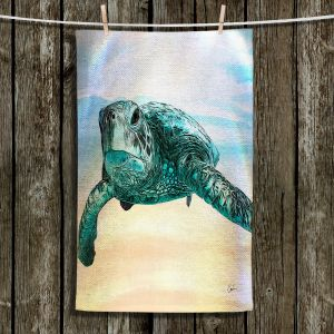 Unique Hanging Tea Towels | Corina Bakke - Sea Turtle 3 | water nature ocean