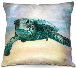 Throw Pillows Decorative Artistic | Corina Bakke - Sea Turtle 3 | water nature ocean