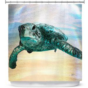 Premium Shower Curtains | Corina Bakke - Sea Turtle 3 | water nature ocean