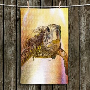 Unique Hanging Tea Towels | Corina Bakke - Sea Turtle 4 | water nature ocean