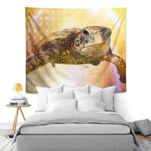 Artistic Wall Tapestry | Corina Bakke - Sea Turtle 4 | water nature ocean