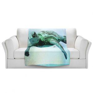 Artistic Sherpa Pile Blankets | Corina Bakke - Sea Turtle 7 | water nature ocean