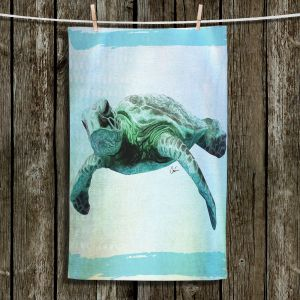 Unique Hanging Tea Towels | Corina Bakke - Sea Turtle 7 | water nature ocean