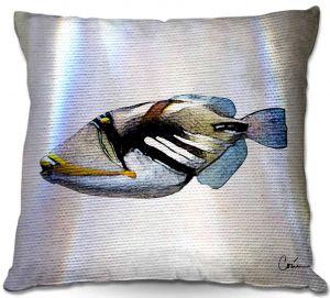 Throw Pillows Decorative Artistic | Corina Bakke - Trigger Fish White