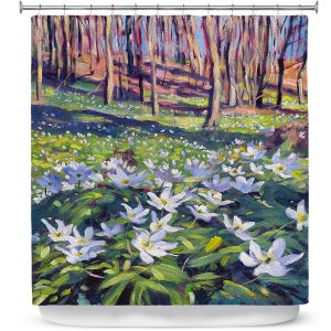 Premium Shower Curtains | David Lloyd Glover - Anemones in the Meadow | field forest nature