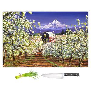 Artistic Kitchen Bar Cutting Boards | David Lloyd Glover - Appleblossoms Mount Hood | landscape mountain nature