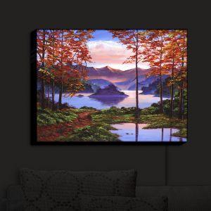 Nightlight Sconce Canvas Light | David Lloyd Glover - Autumn Perfectly Still | landscape lake forest
