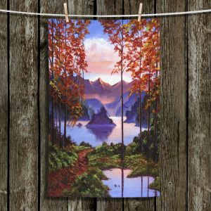 Unique Hanging Tea Towels | David Lloyd Glover - Autumn Perfectly Still | landscape lake forest