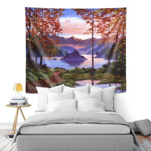Artistic Wall Tapestry   David Lloyd Glover - Autumn Perfectly Still   landscape lake forest