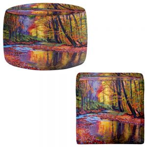 Round and Square Ottoman Foot Stools   David Lloyd Glover - Autumn Prelude
