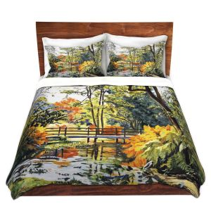 Artistic Duvet Covers and Shams Bedding | David Lloyd Glover - Autumn Water Bridge | landscape nature stream forest