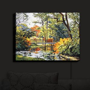 Nightlight Sconce Canvas Light | David Lloyd Glover - Autumn Water Bridge