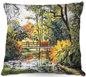 Throw Pillows Decorative Artistic | David Lloyd Glover - Autumn Water Bridge | landscape nature stream forest