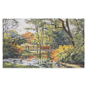 Artistic Pashmina Scarf | David Lloyd Glover - Autumn Water Bridge | landscape nature stream forest