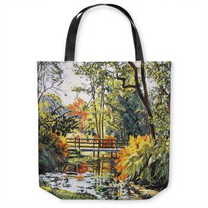 Unique Shoulder Bag Tote Bags | David Lloyd Glover - Autumn Water Bridge | landscape nature stream forest