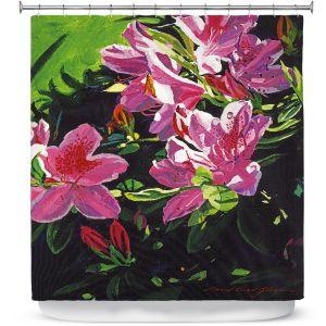 Premium Shower Curtains | David Lloyd Glover - Azaleas Dew Drop | flower still life close up nature