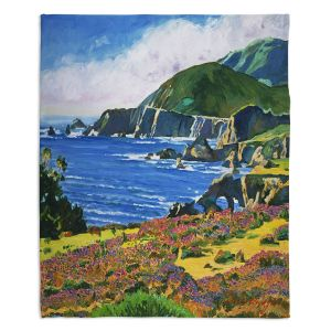 Decorative Fleece Throw Blankets | David Lloyd Glover - Big Sur 2 | coast landscape flower field