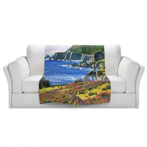 Artistic Sherpa Pile Blankets | David Lloyd Glover - Big Sur 2 | coast landscape flower field