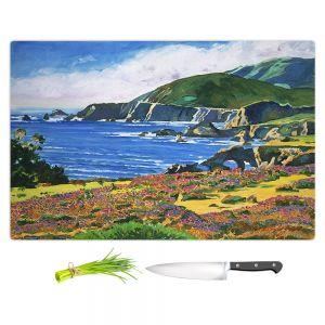 Artistic Kitchen Bar Cutting Boards | David Lloyd Glover - Big Sur 2 | coast landscape flower field