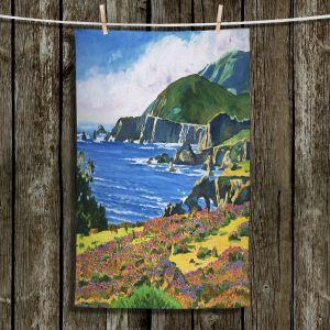 Unique Hanging Tea Towels | David Lloyd Glover - Big Sur 2 | coast landscape flower field
