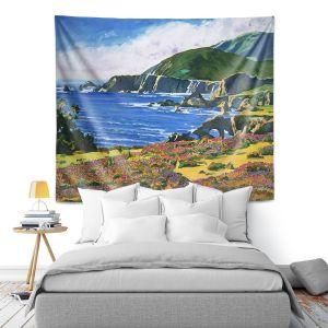 Artistic Wall Tapestry | David Lloyd Glover - Big Sur 2 | coast landscape flower field