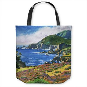Unique Shoulder Bag Tote Bags | David Lloyd Glover - Big Sur 2 | coast landscape flower field